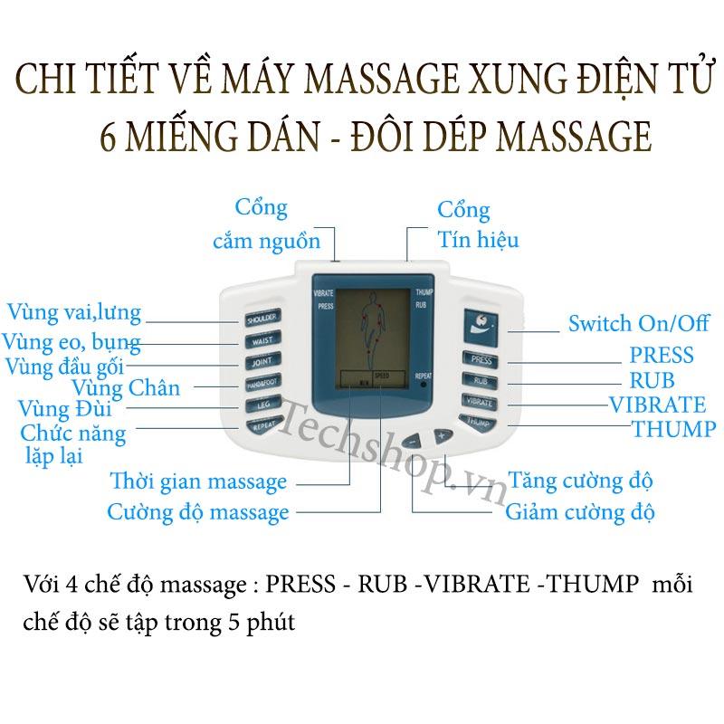 Chi tiết máy massage xung điện 6 miếng dán