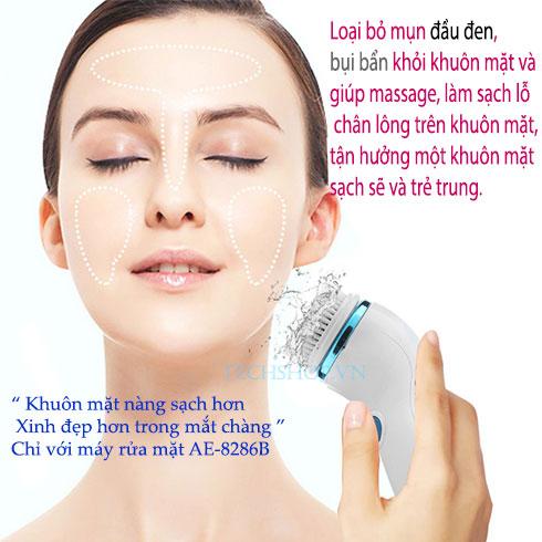 Máy massage và rửa mặt 4 đầu pin sạc AE-8286B