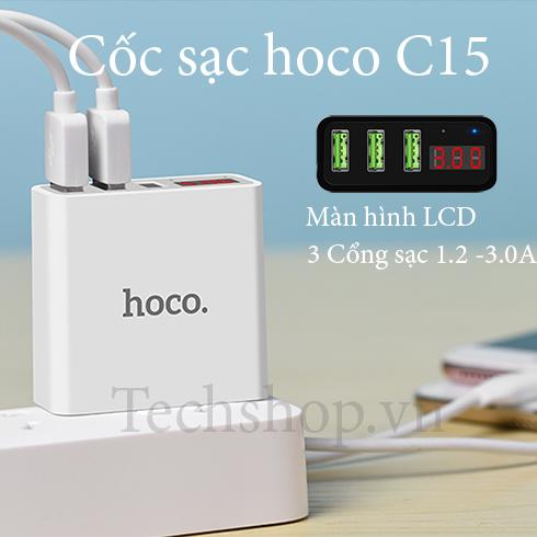 Cốc sạc Hoco C15 3 cổng USB - màn hình hiển thị LCD