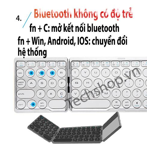 Bàn phím bluetooth gấp gọn có chuột cảm ứng - Loại phím tròn - Cổ Điển